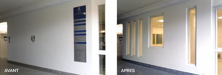 Percements doubles voiles (JD) pour éclairement local accueil général consultations